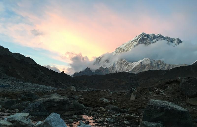 Sunset over a Himalayan mountain