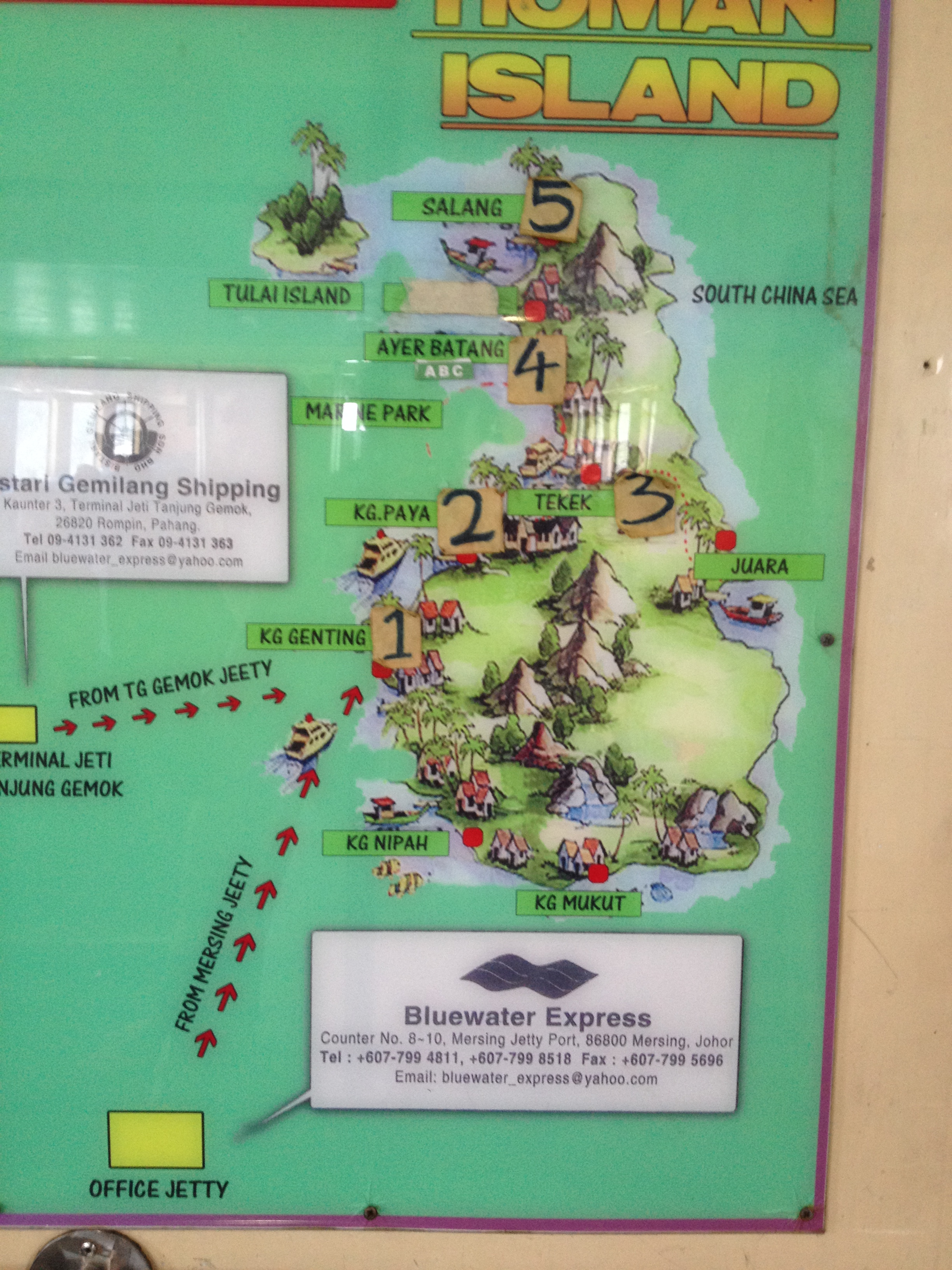 Map of tioman island