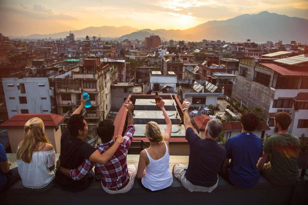 Hotel roof overlooking sunset Kathmandu
