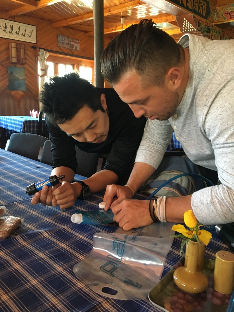 Leo and Joe preparing in restaurant, Lukla