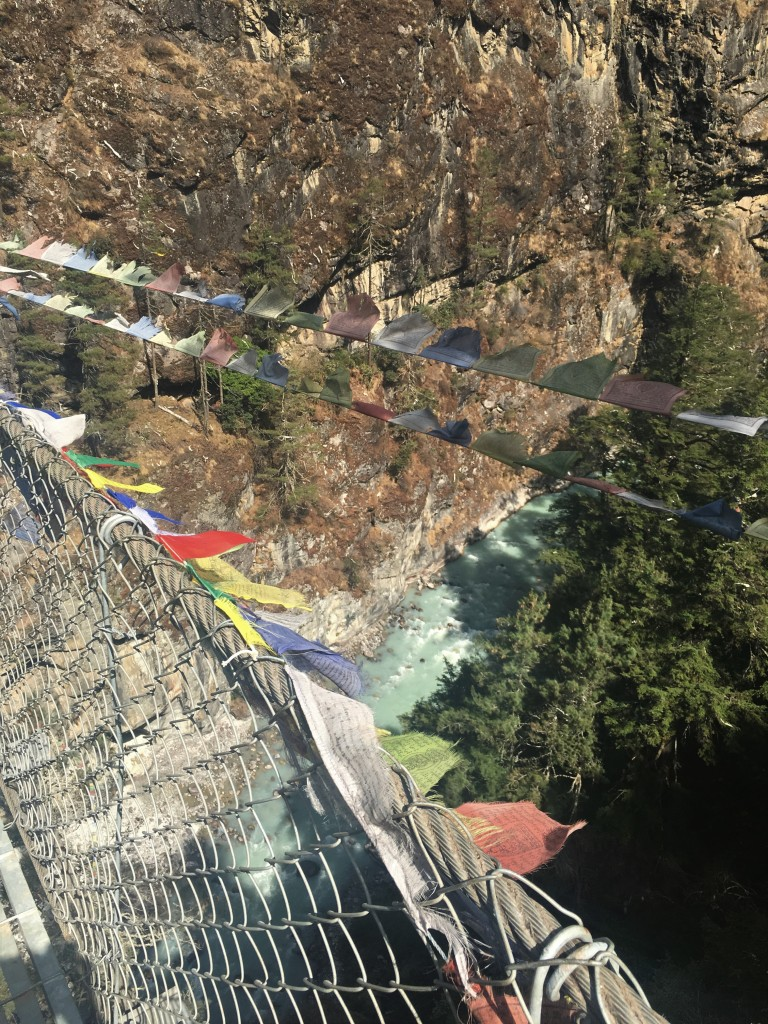 View from top of hillary suspension bridge of Dudh Koshi river
