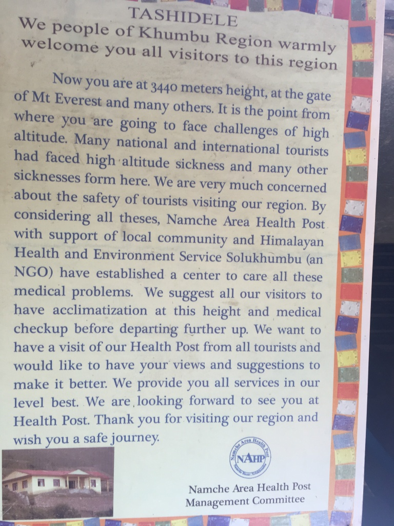 Khumbu Valley welcome post