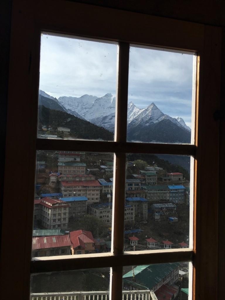 View of Namche Bazaar from room