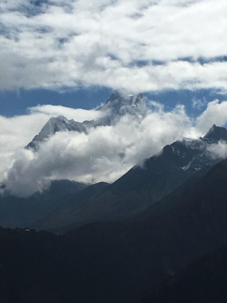 Ama Dablam behind clouds