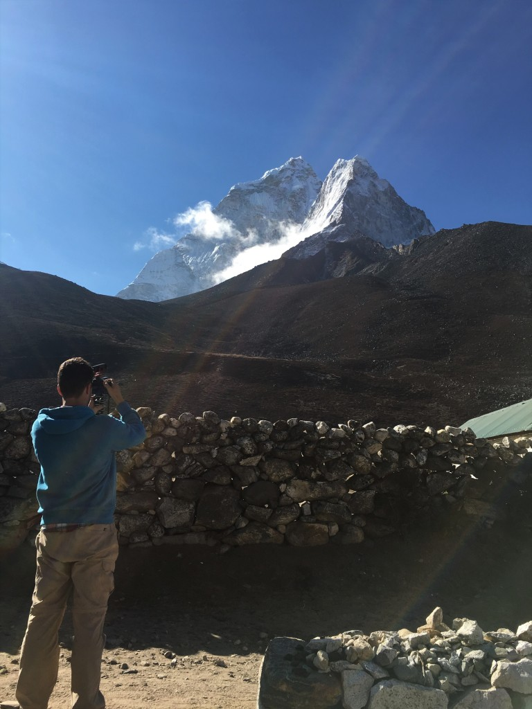 Karl taking a photograph of Ama Dablam