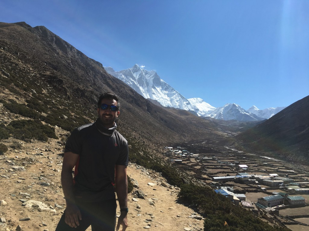 Zach standing in front of Lhotse