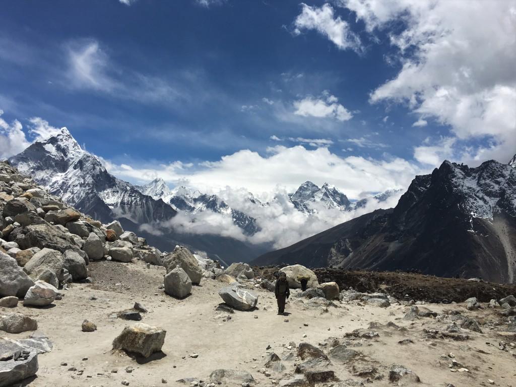 Sherpa climbs up