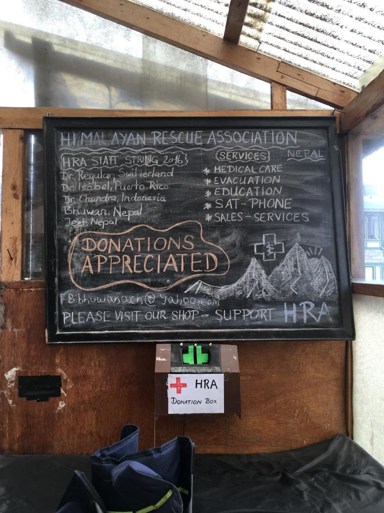 Himalayan Rescue Association blackboard