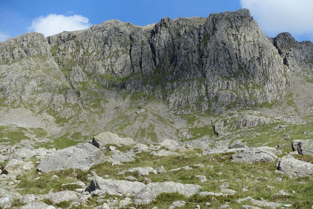 Rock cliffs near the summit of Scafell Pike